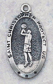 engravable sterling silver Saint Christopher Boy's basketball medal