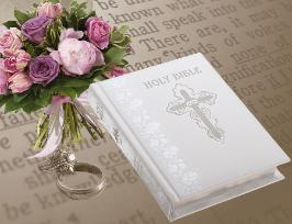 Publishers Image of White Personalized Catholic Wedding Bible NABRE